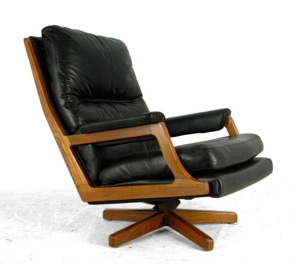 Etonnant Mid Century Danish Teak And Leather Swivel Chair ...