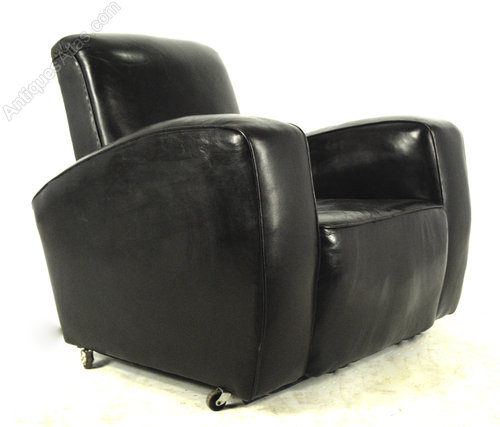 Pair Of Black Leather Art Deco Club Chairs ...