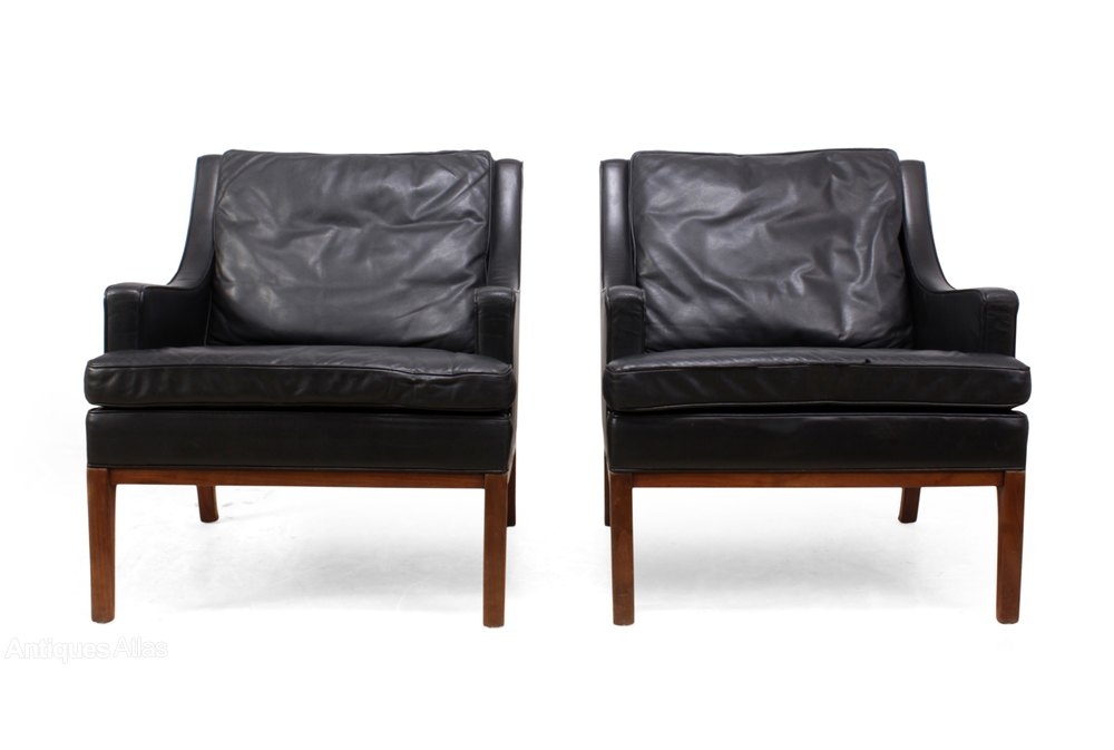 Antiques Atlas Pair Of Danish Armchairs In Leather And Teak C1960