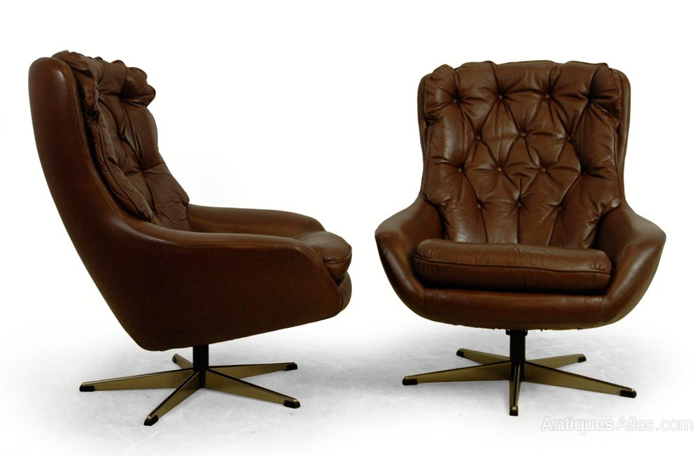Pair of Danish Leather Swivel chairs c1960 Vintage Swivel and Revolving  Chairs ... - Antiques Atlas - Pair Of Danish Leather Swivel Chairs C1960