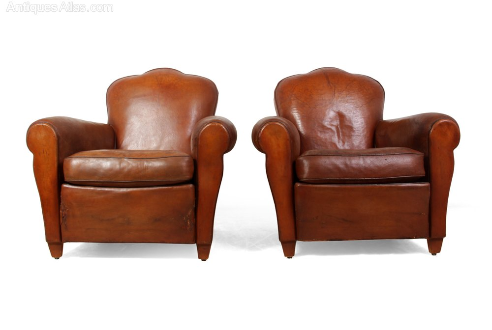 Pair of French Leather Club Chairs Antique Armchairs, Occasional Chairs &  Stools ... - Pair Of French Leather Club Chairs - Antiques Atlas