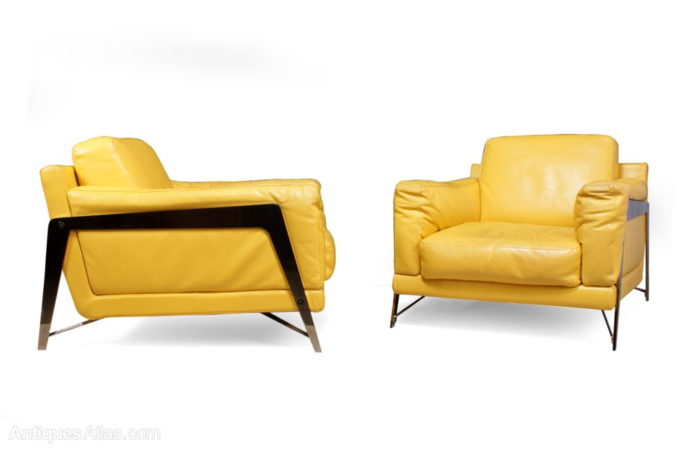 Pair Of Leather And Chrome Chairs By Roche Bobois