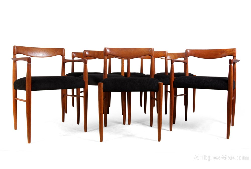 Set Of 8 Teak Dining Chairs By H W Klien For Bramin ...