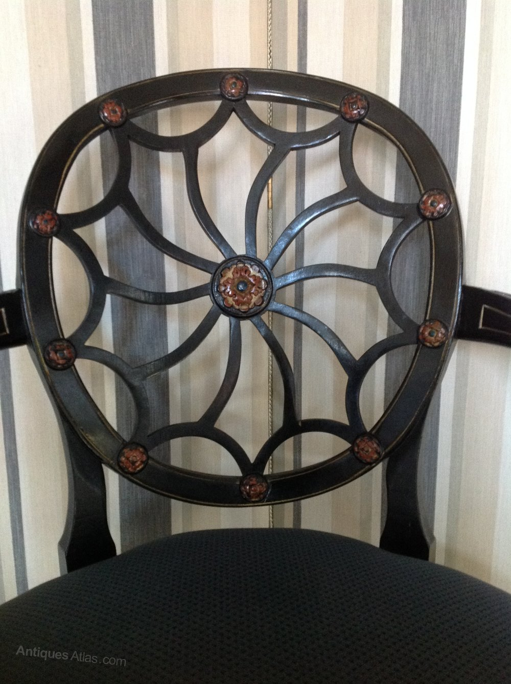 19thc Hepplewhite Style Spider Web Back Chair Antique Armchairs ...