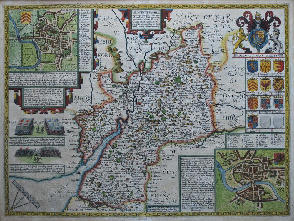 Antiques Atlas  John Speed Map Of Gloucestershire