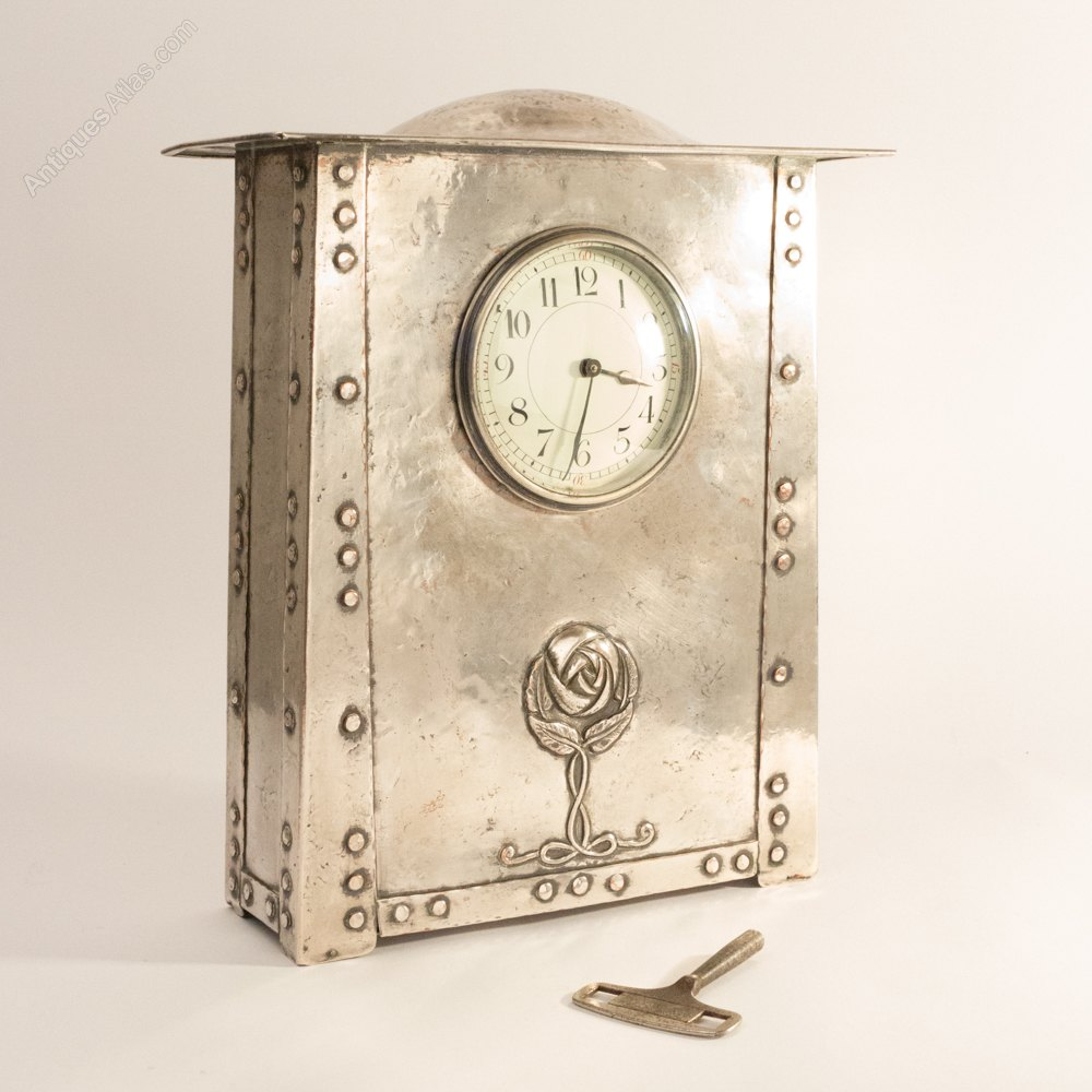 Antiques atlas arts and crafts silvered copper mantel clock for Arts and crafts mantle clock