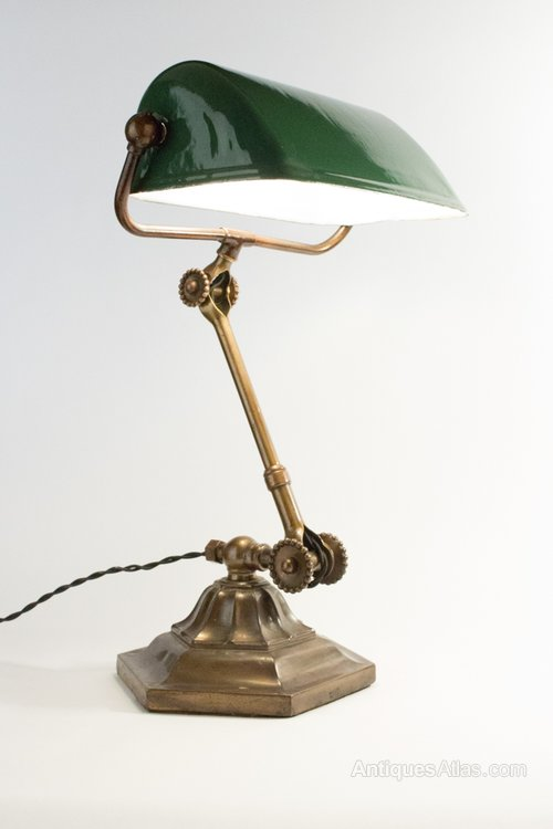 antiques atlas rare dugdill brass enamel bankers desk lamp. Black Bedroom Furniture Sets. Home Design Ideas