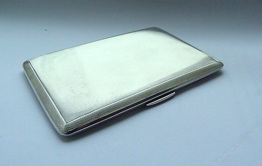 09b4800e9625 Antique Sterling Silver Cigarette Box - Image Of Lion and Antique ...