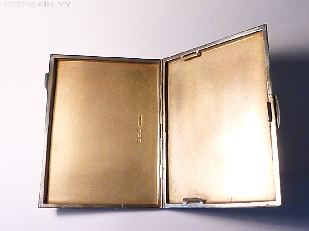 Antiques Atlas - Large Sterling Silver Cigarette Case 1946