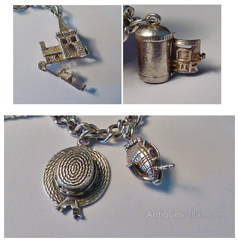 0a0f366edf4b09 Rare Vintage Sterling Silver Charm Bracelets Antique Bracelets vintage  jewellery vintage jewelry rare charm bracelets ...