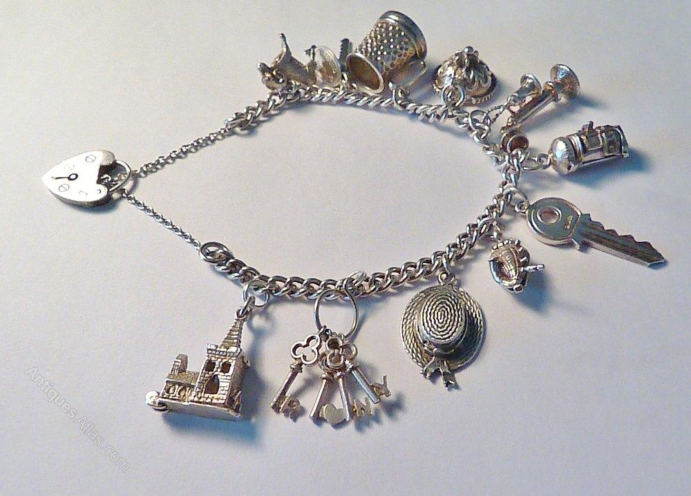 a63f77a521c4ca Rare Vintage Sterling Silver Charm Bracelets Antique Bracelets ...