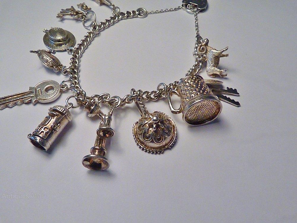 efb192b82ed297 Rare Vintage Sterling Silver Charm Bracelets Antique Bracelets vintage  jewellery vintage jewelry ...