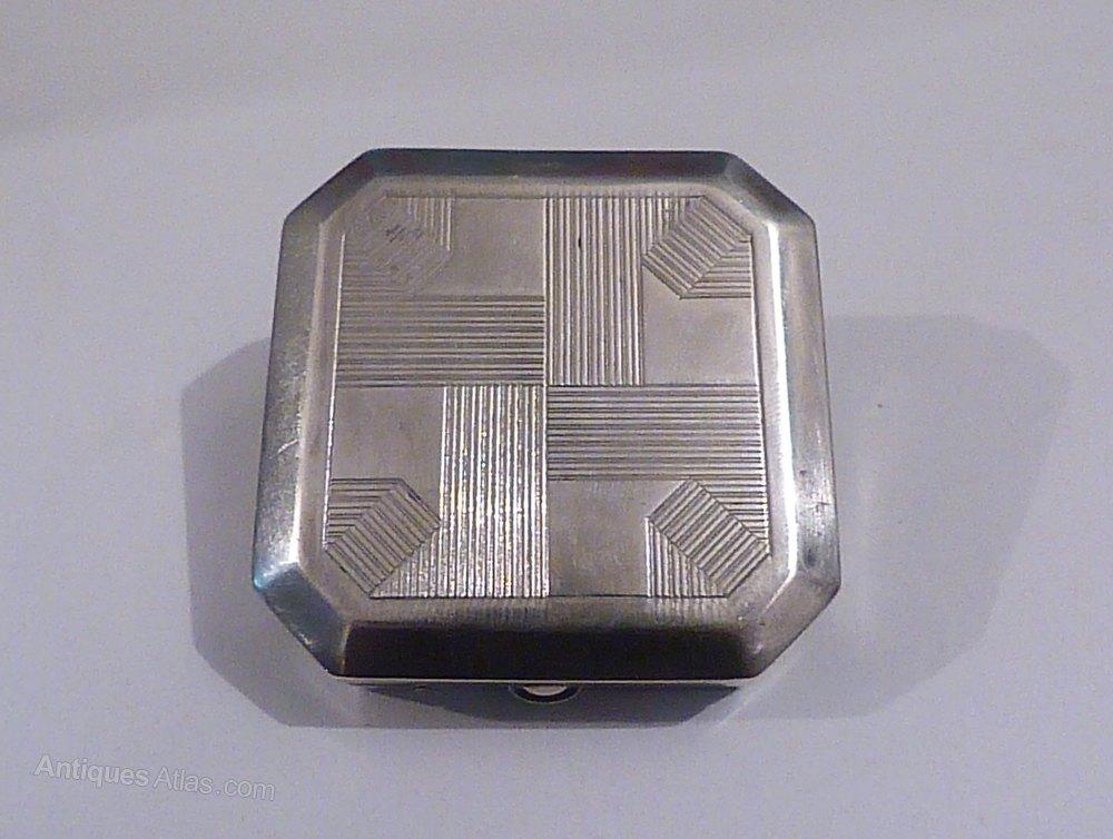Antiques Atlas Rare Silver Plated Plassard Art Deco Compact