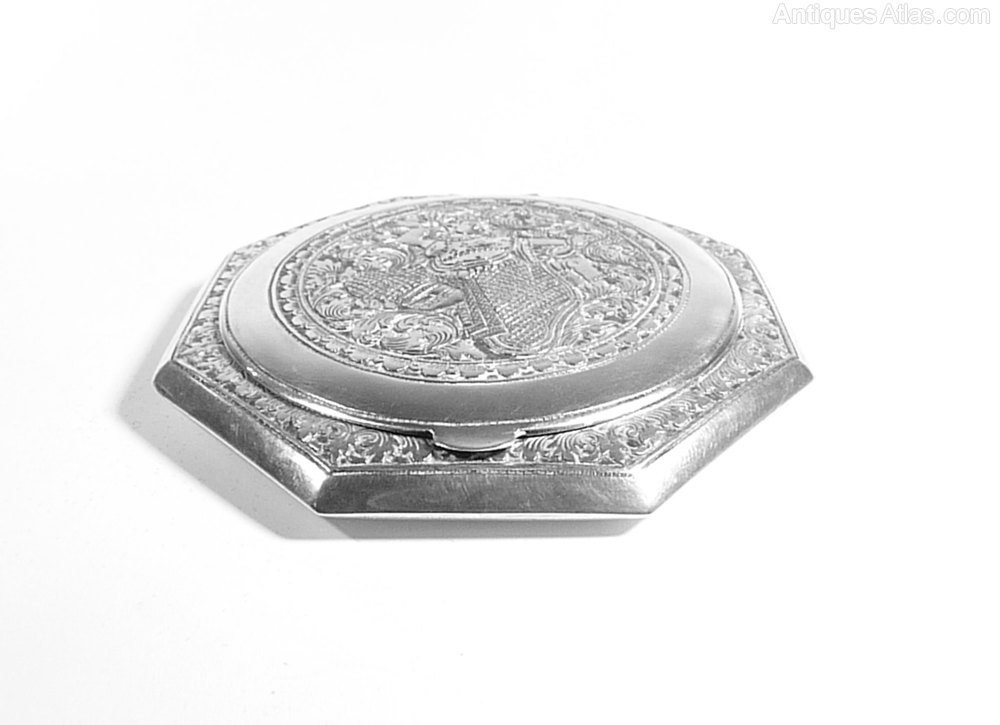 Solid Silver Compact Mirror Silver Wedding Gift