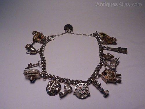 52f5a9af6f13b8 Antiques Atlas - Vintage Jewellery Sterling Charm Bracelet 1956