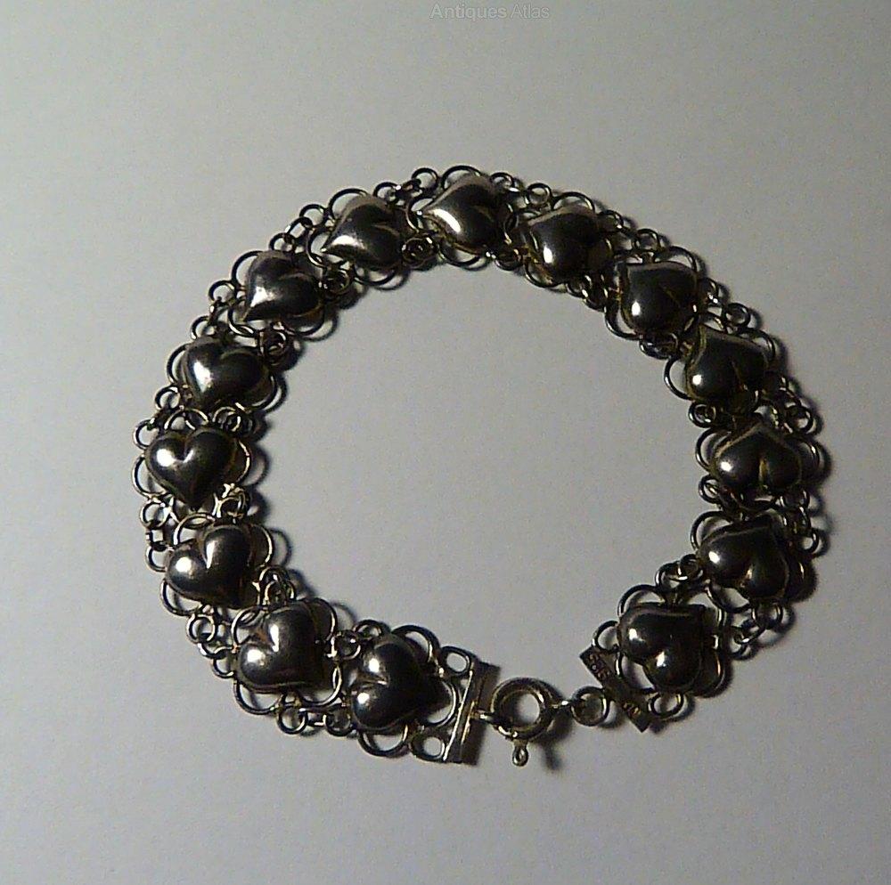 a83b2cf54d0062 Antiques Atlas - Vintage Jewellery Sterling Silver Heart Bracelet