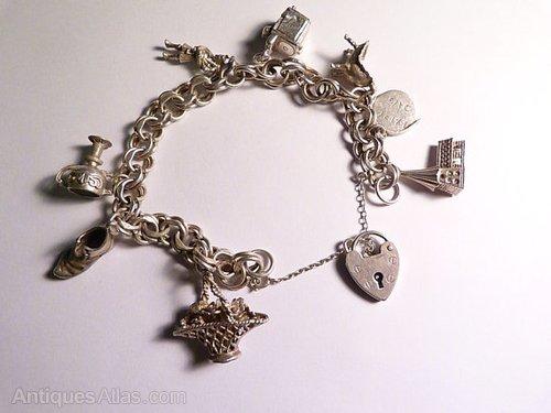 4f658a90f17054 Antiques Atlas - Vintage Sterling Charm Bracelet Wedding Themed