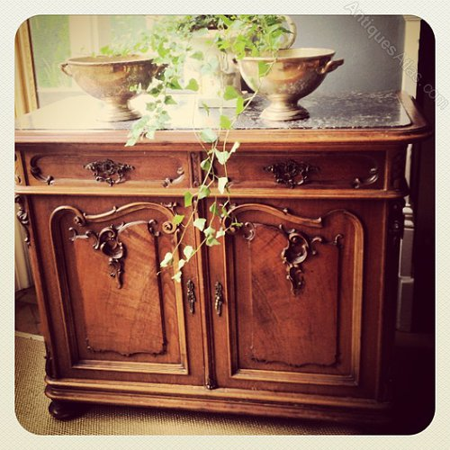 French Dresser With Marble Top Buffet Sideboard