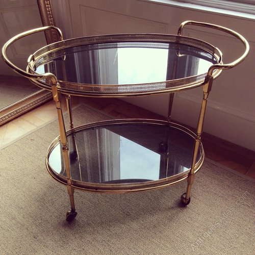 Large Oval Brass & Glass Drinks Trolley