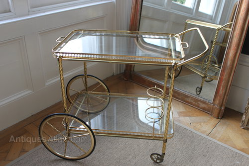 Vintage French Br Drinks Trolley Bar Cart