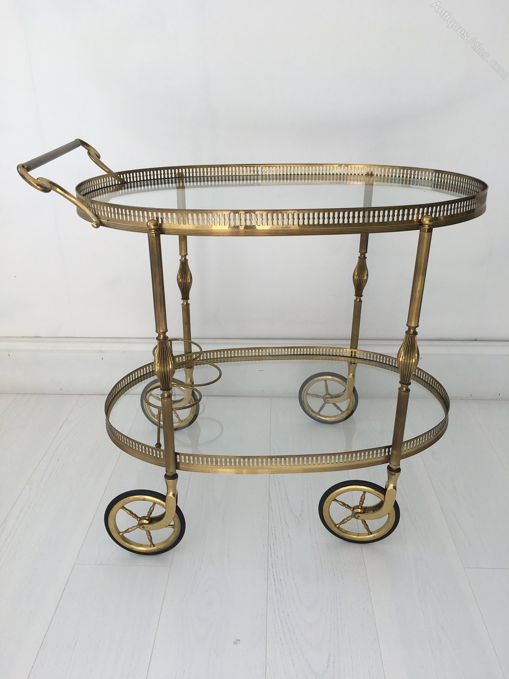 Antiques Atlas Vintage French Oval Brass Drinks Trolley Bar Cart