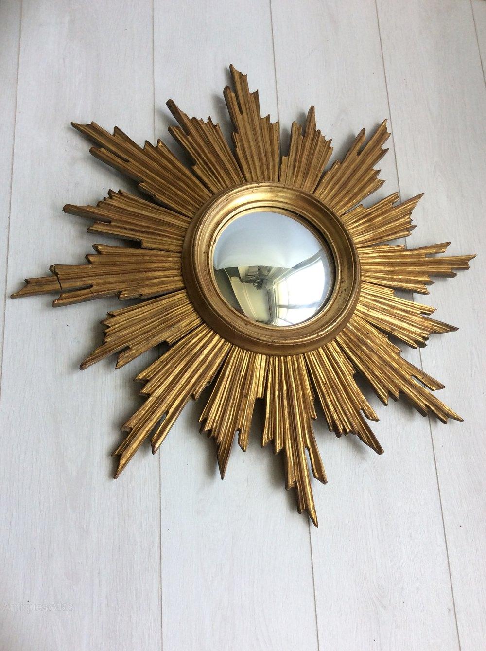 Vintage Giltwood Sunburst Convex Mirror Antique Mirrors