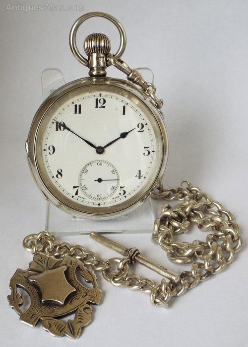 81c93a53f Antiques Atlas - Antique 1909 Silver Cyma Pocket Watch & Chain.