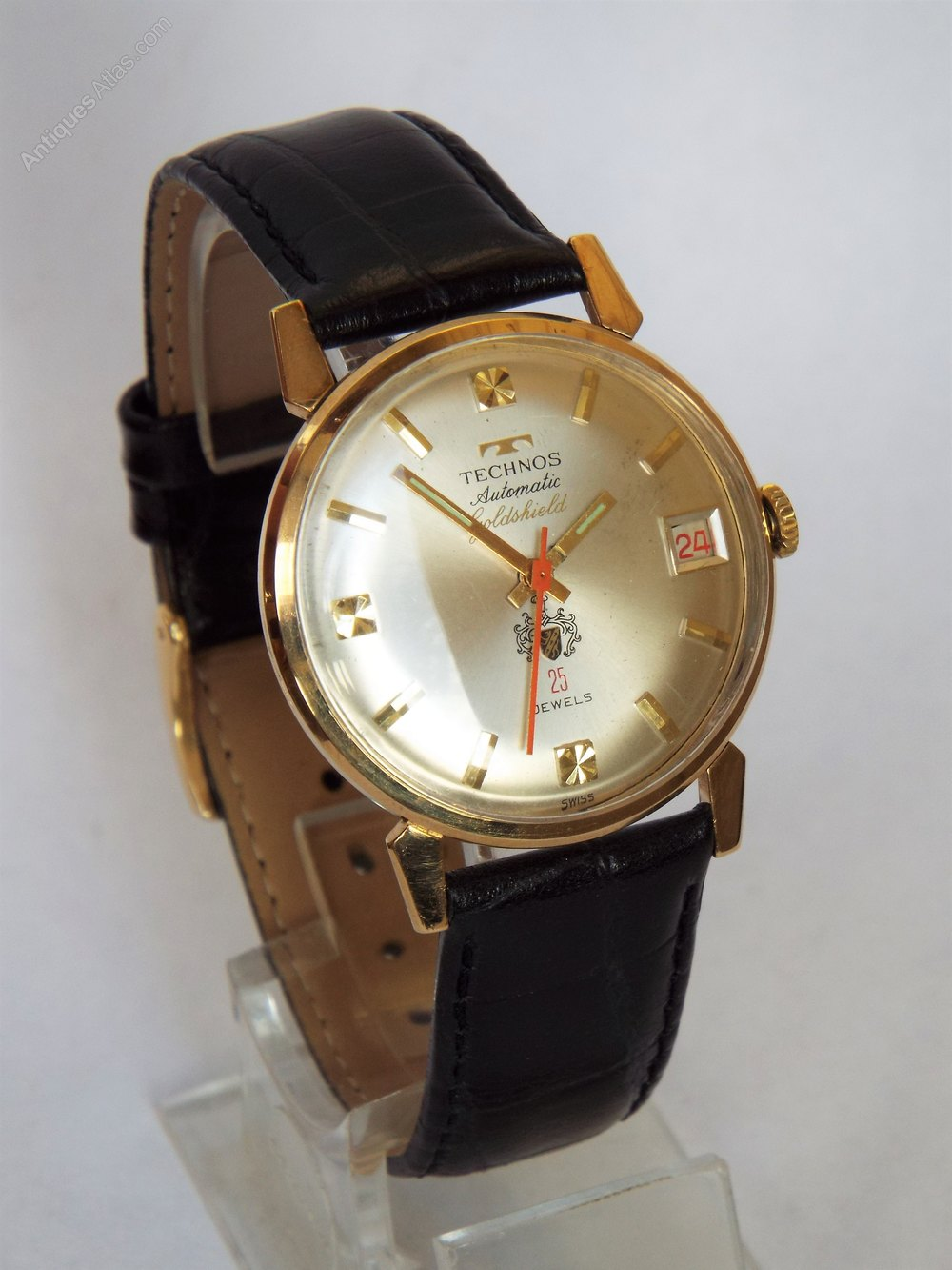 Antiques atlas gents 9ct gold technos goldshield wristwatch 1965 for Technos watches