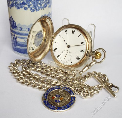 26a8d1724 Antiques Atlas - Silver Hunter Brandt Omega Pocket Watch & Chain