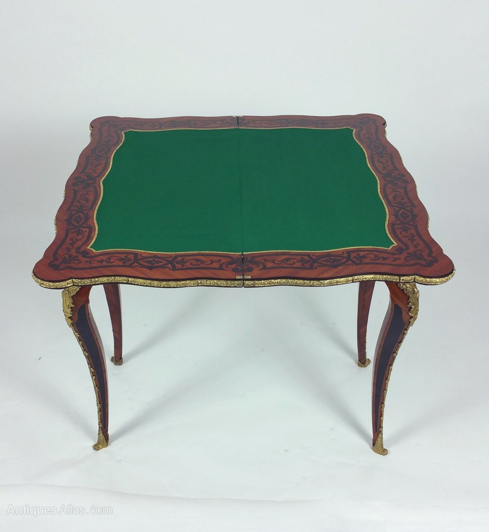 35e44640ea7c Photos. 19th C. French Marquetry Fold-Over Card Table Antique ...