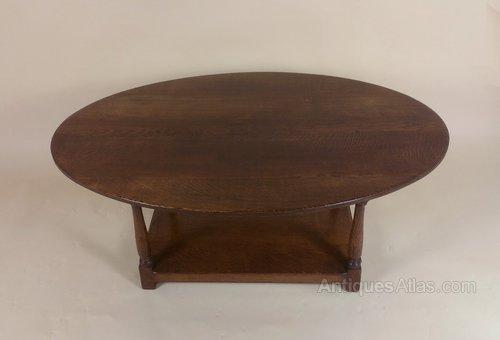 Edwardian Oak Oval Coffee Table