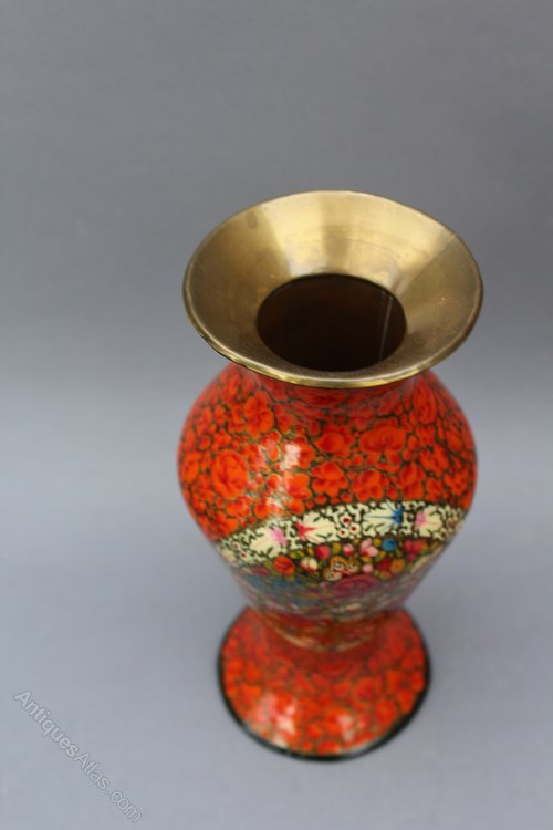 Antiques Atlas Brass Lined Papier Mache Vase