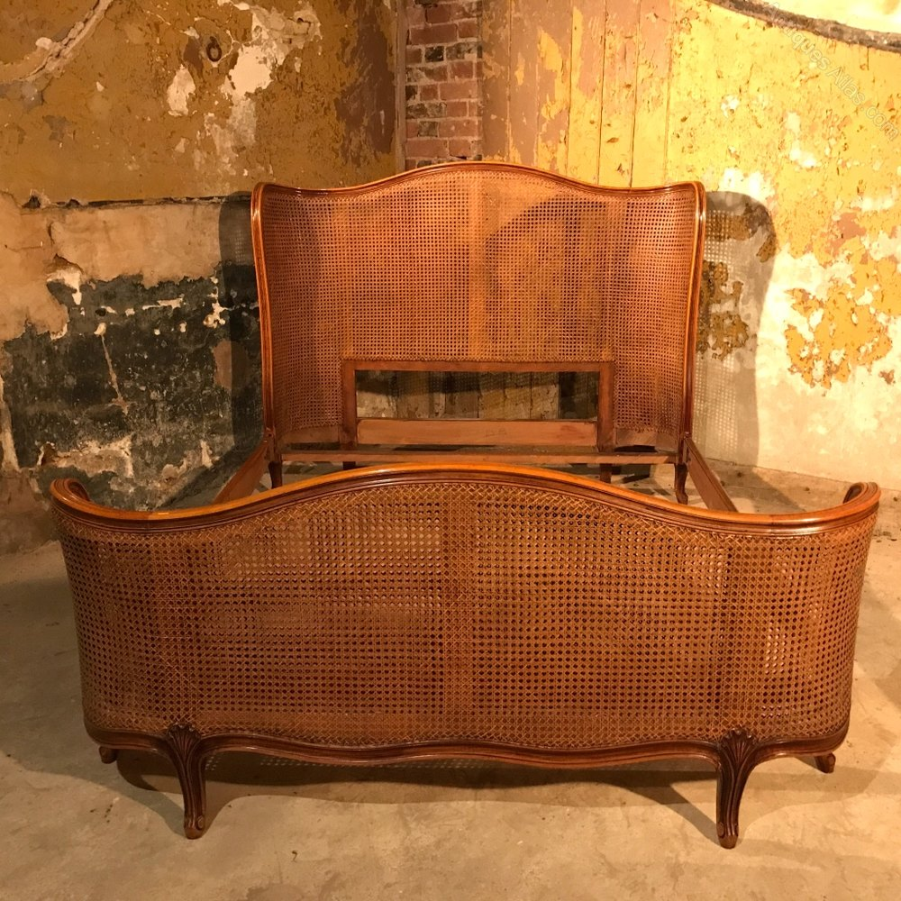 Antique Bed: French Antique Cane Double Bed