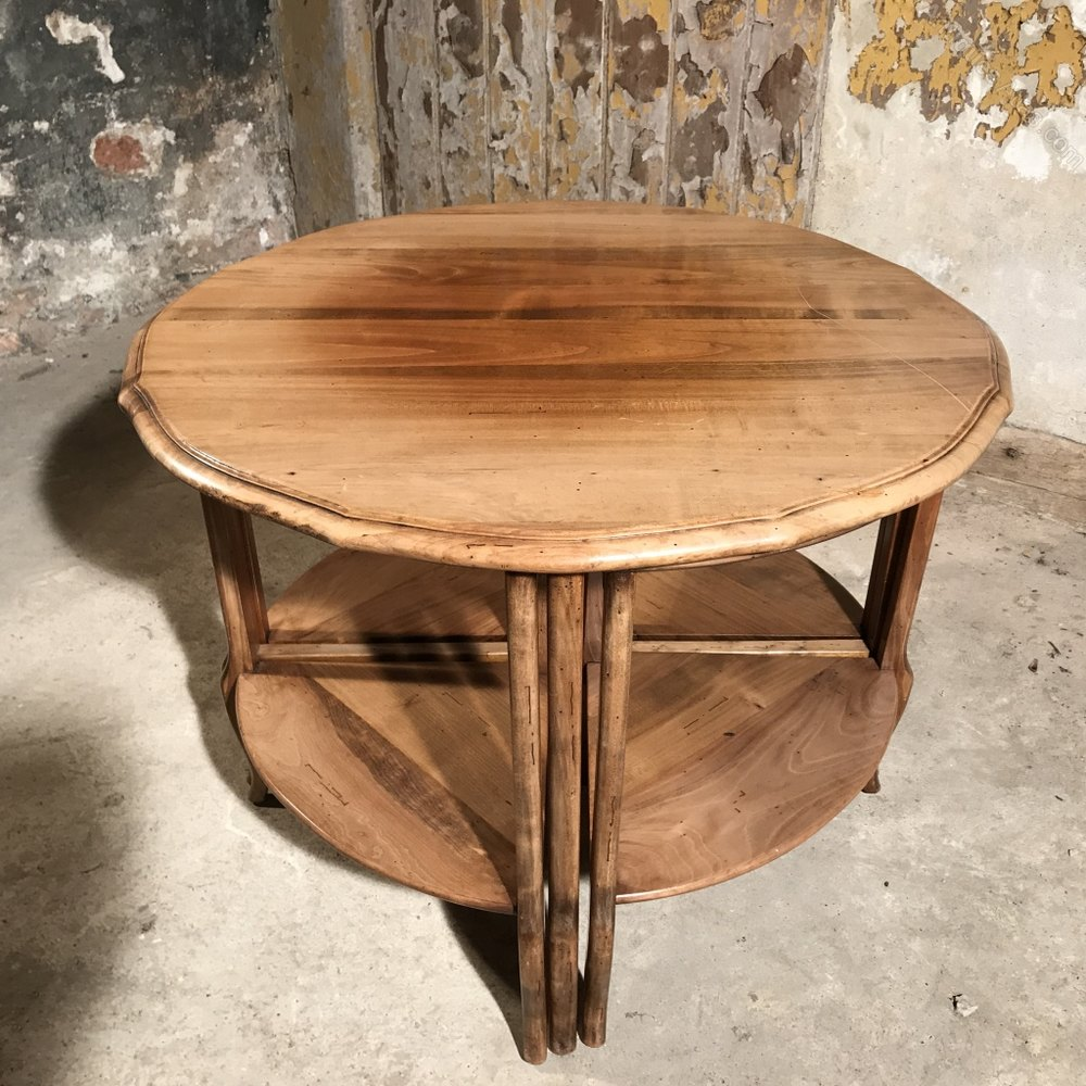 French Wood Coffee Table: French Cherry Wood Coffee Table With Nest