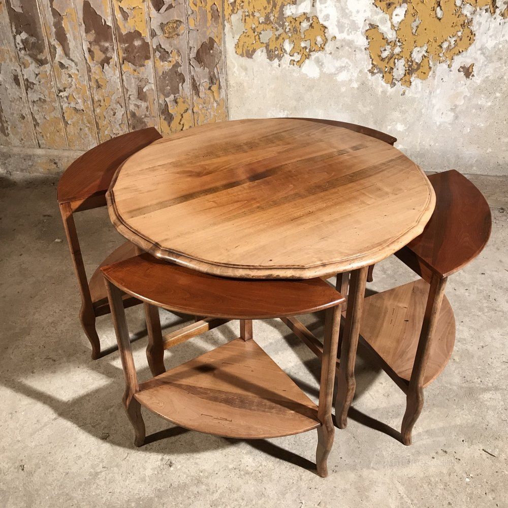 French Cherry Wood Coffee Table With Nest
