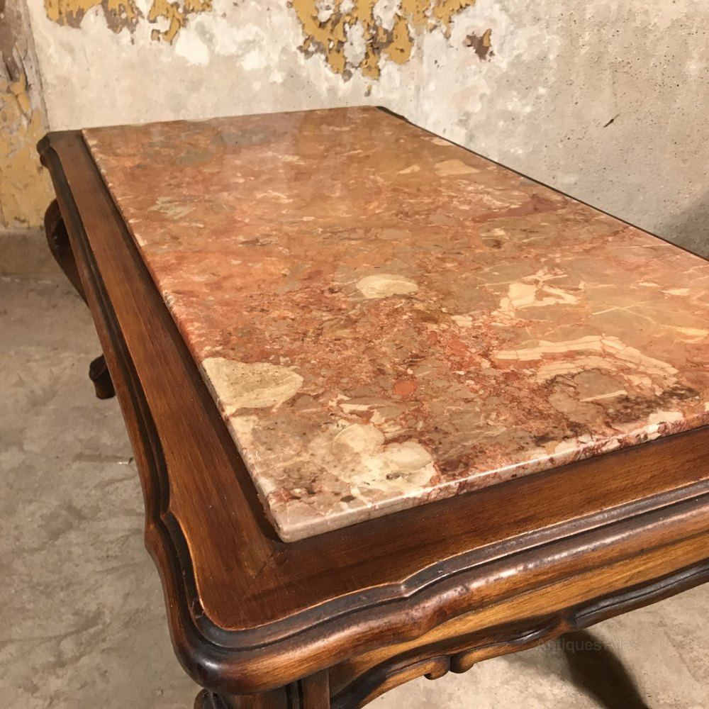 French Walnut And Marble Top Coffee Table Antiques Atlas