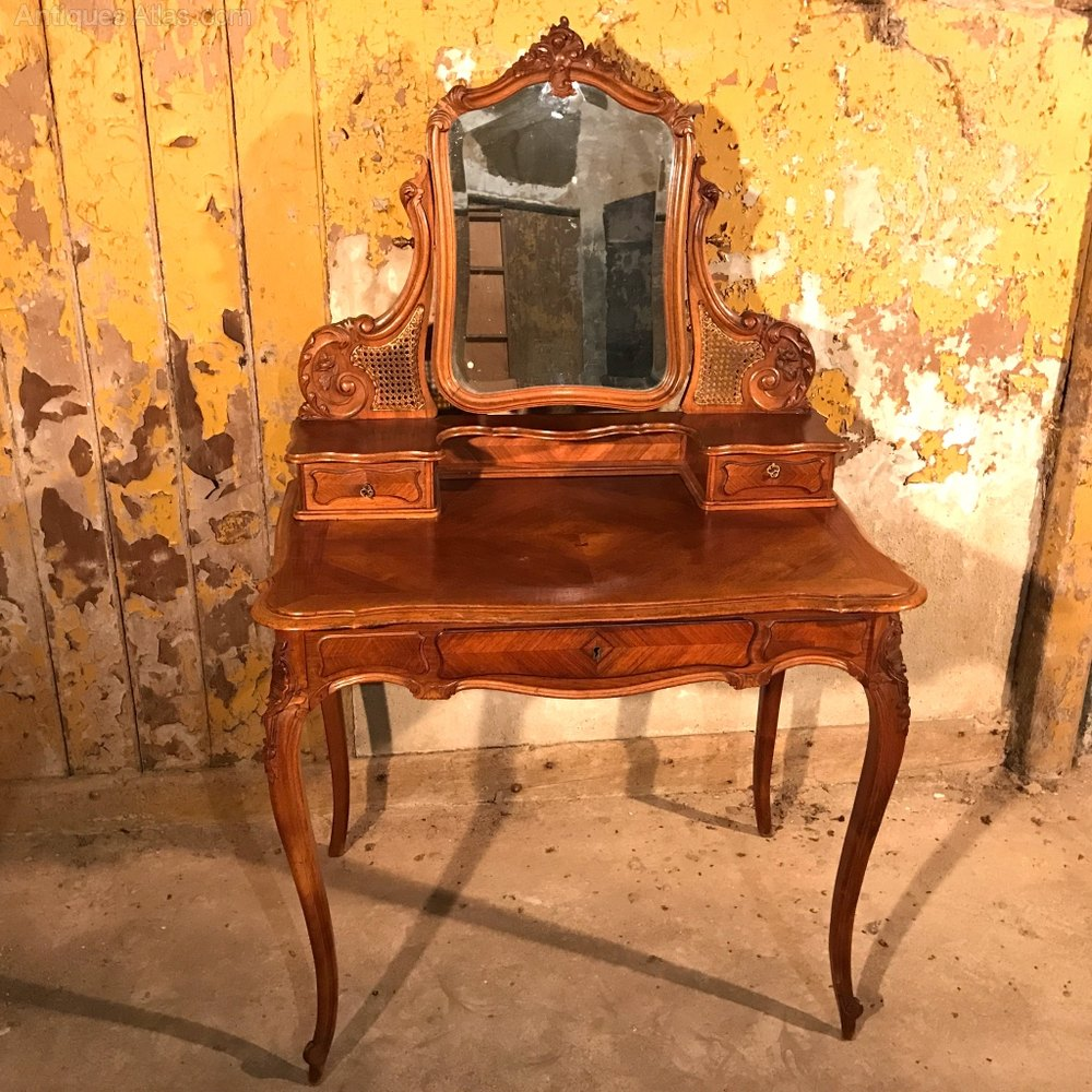 French Walnut Dressing Table With Cane Panels Antiques Atlas