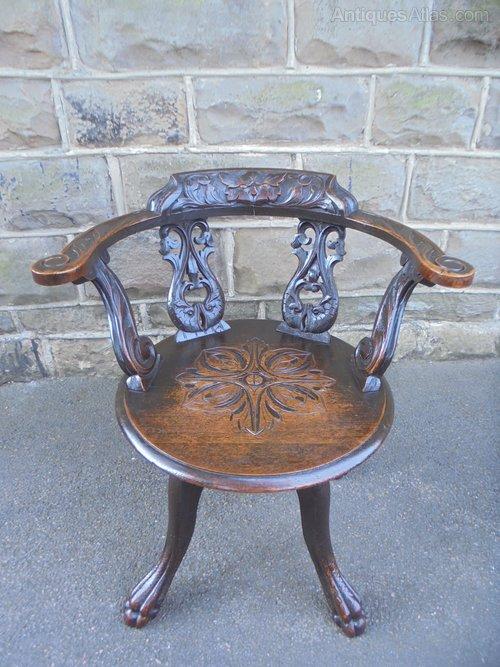 Strange Antique Carved Oak Revolving Desk Chair Download Free Architecture Designs Scobabritishbridgeorg