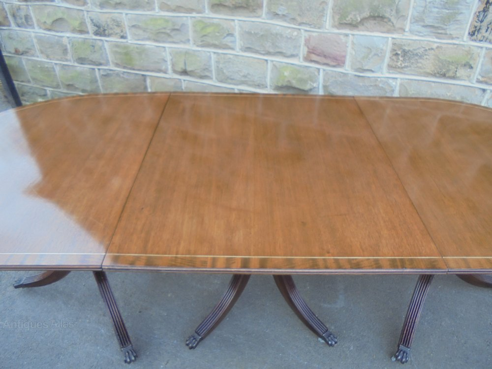 Antique mahogany triple pillar dining table antiques atlas for 10 person dining table for sale