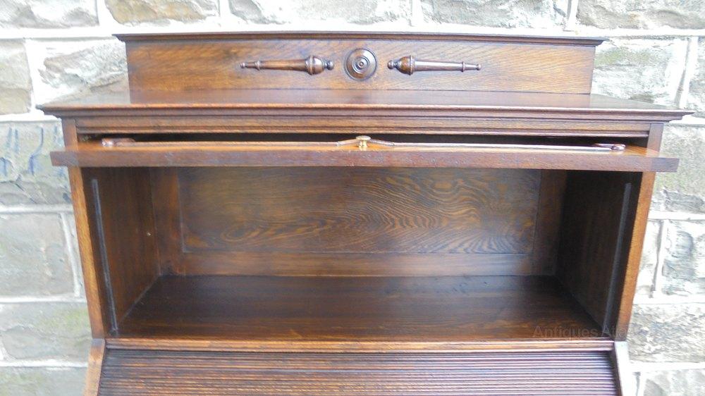 Antique Oak Barley Twist Roll Top Desk Antiques Atlas