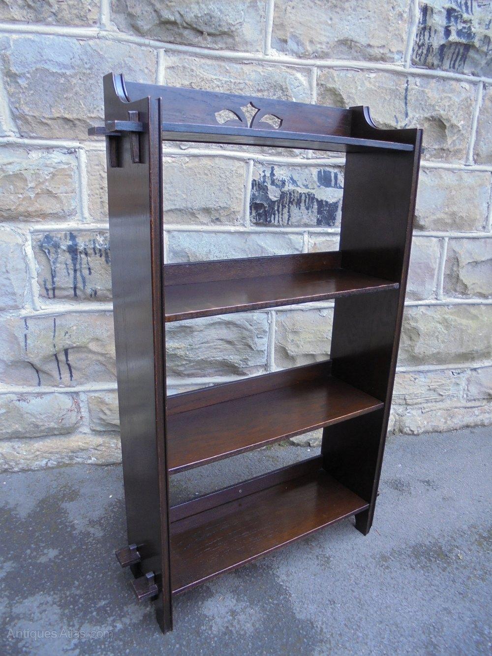 Antique Oak Open Bookcase Bookshelf