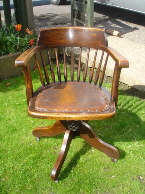 Antique Oak Swivel Desk Chair Office Chair ... - Antique Oak Swivel Desk Chair Office Chair - Antiques Atlas