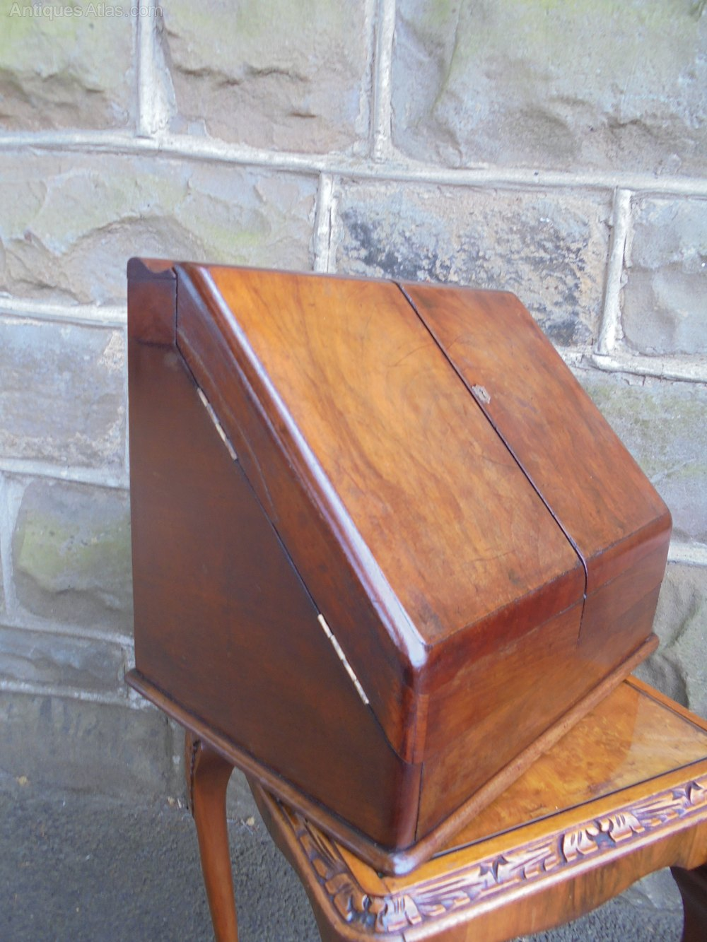 Antique Walnut Desk Top Stationary Box Stationery Bo Writing