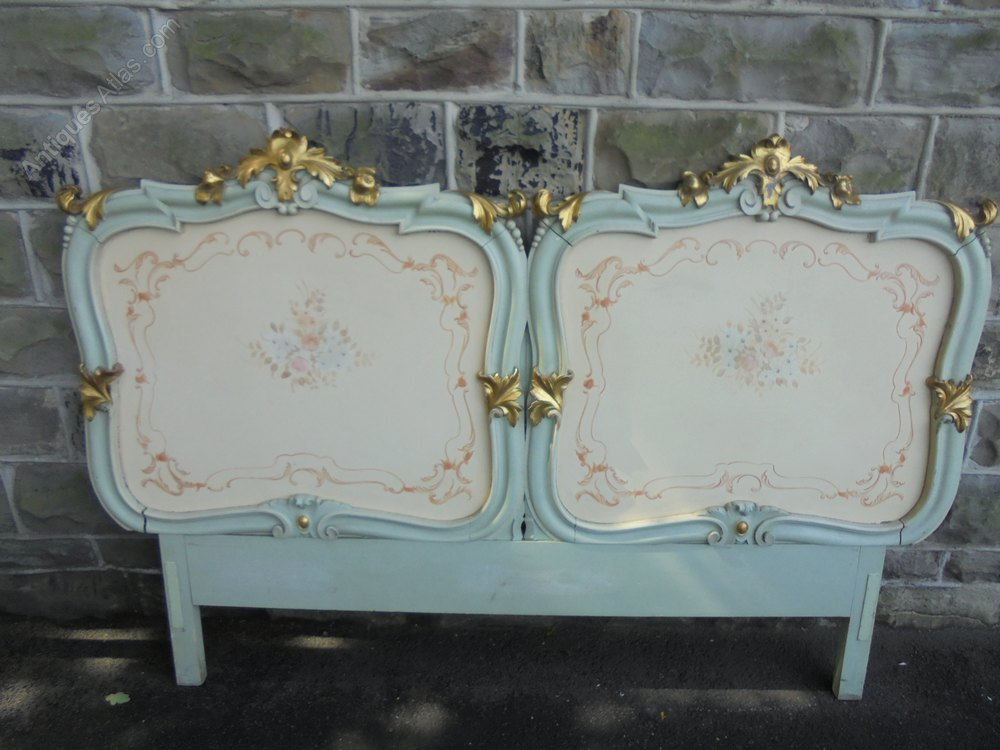 Decorative antique carved polychrome painted headboard Decorative headboards for beds