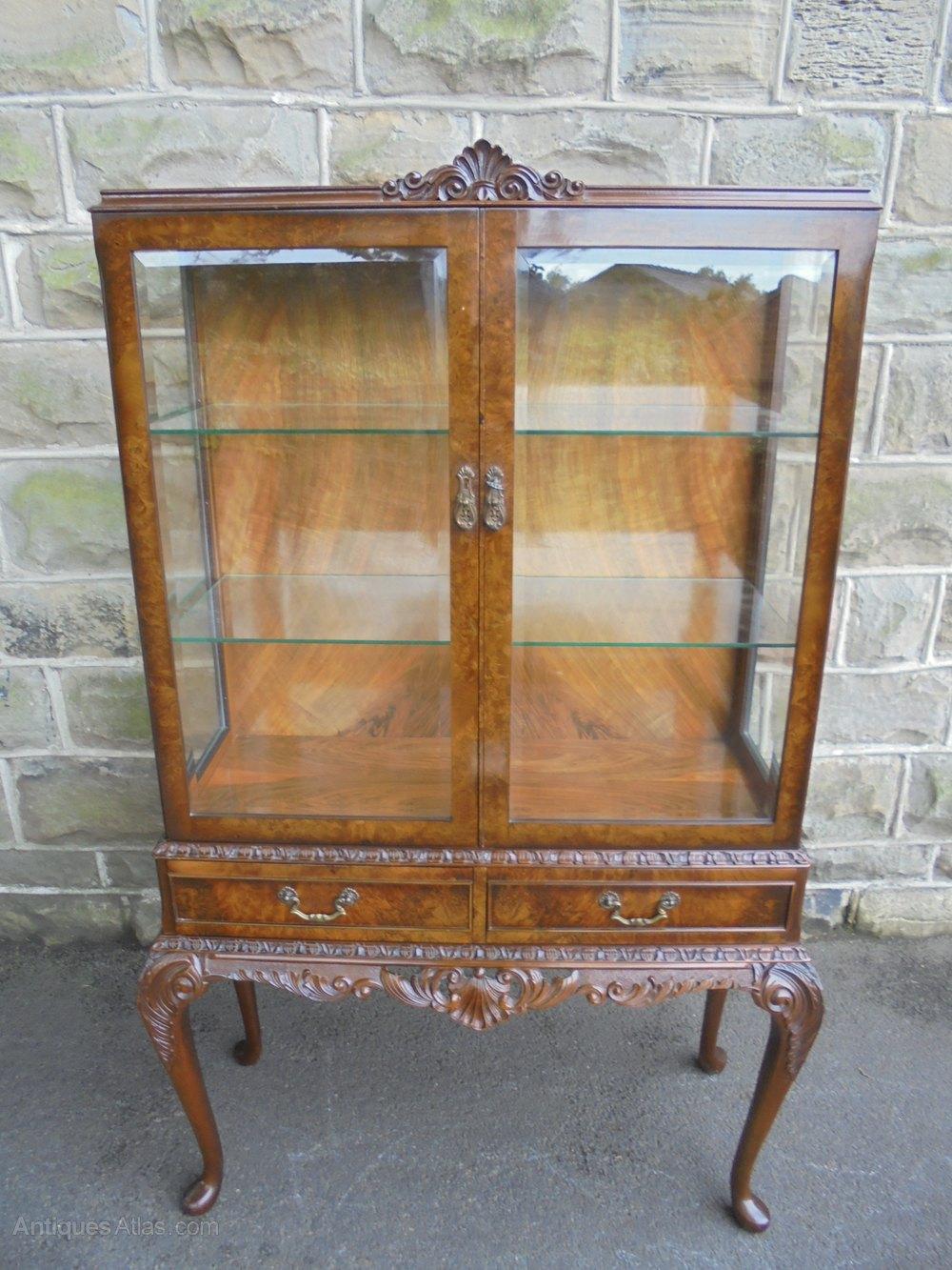 Quality Antique Burr Walnut Glazed Display Cabinet