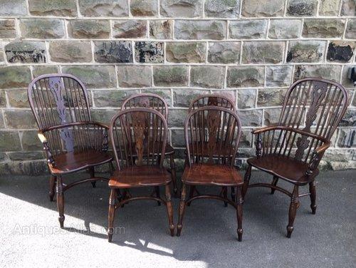 Set 6 Ash & Elm Windsor Farmhouse Kitchen Chairs