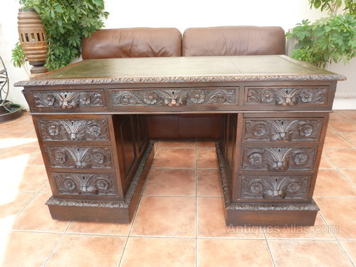 Country Oak Heavily Carved Double Pedestal Desk Antiques