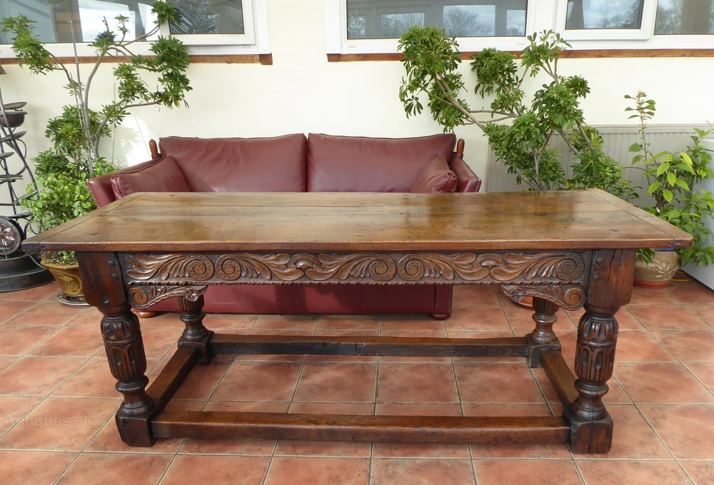 Country Oak Planked Top Dining Table 1680