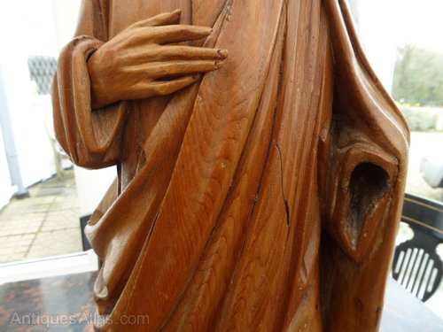 Antiques atlas fruit wood hand carved statue of a saint