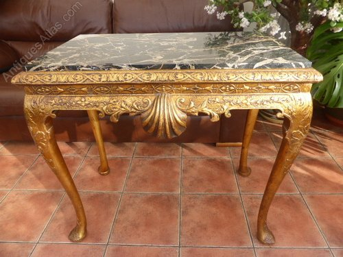 Marvelous Ornate Gilded Marble Top Console table